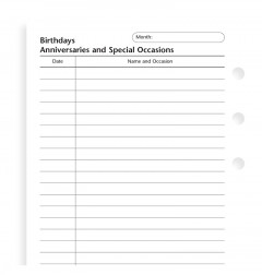 Birthdays, Anniversaries and Special Occasions Refill