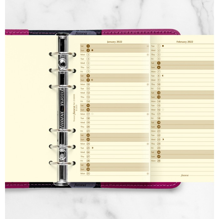 Vertical Year Planner Personal Cotton Cream