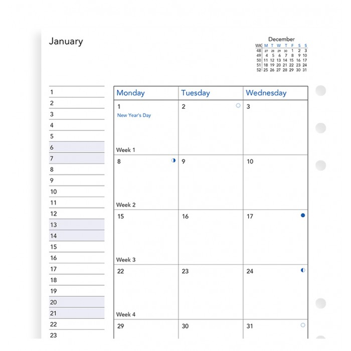 Month On Two Pages Diary A5 2019